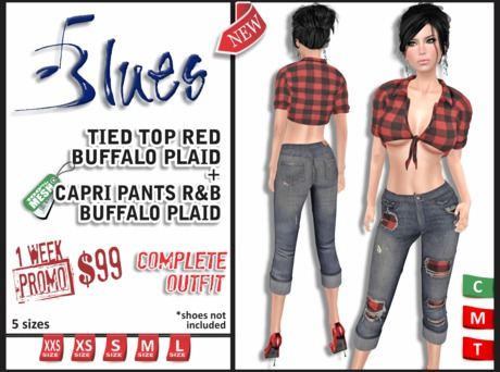 PROMO [BLUES] Capri Pants & Tied Top Red Buffalo (Mesh) COMP. OUTFIT