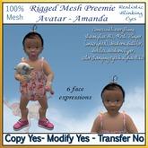 Rigged Mesh preemie Baby Avatar - Amanda (Baby Girl)