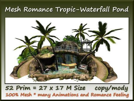 Mesh Romance Tropic-Waterfall Pond 52 Prim=27x17m Size c-m
