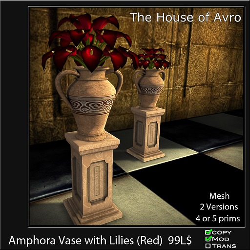 Amphora Vase with Lilies (Red) - Mesh - 4 or 5 Prims, Gothic Furniture