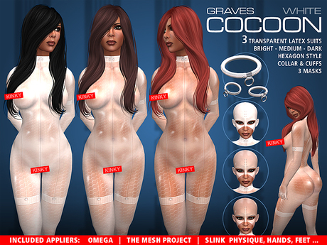 GRAVES Cocoon - White - latex catsuit, body suit + Omega, Slink, TMP appliers