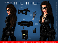 GRAVES The Thief - leather latex catsuit + Omega, Slink, TMP appliers
