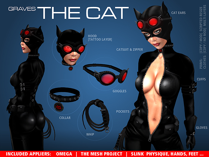 GRAVES The Cat + inclusive Omega, Slink, TMP... leather latex catsuit