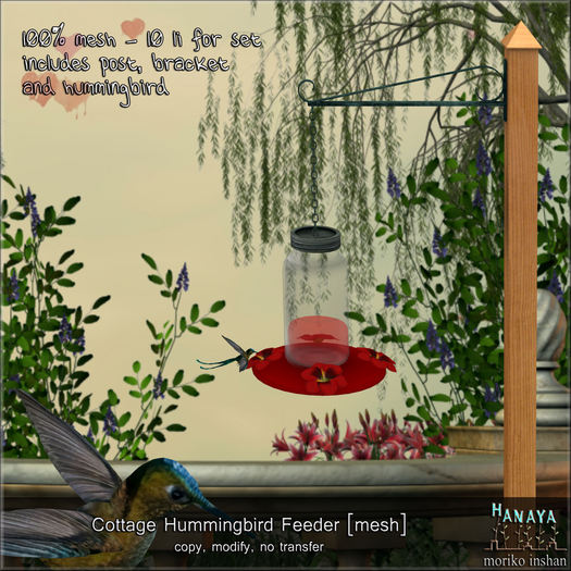 -Hanaya- Cottage Hummingbird Feeder [mesh]