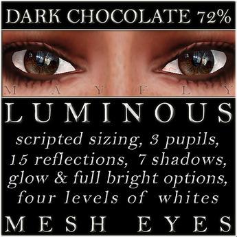 Mayfly - Luminous - Mesh Eyes (Dark Chocolate 72%)