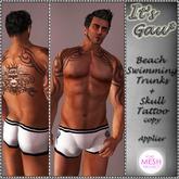 *It's Gau* Beach Swimming Trunks+Skull Tattoo