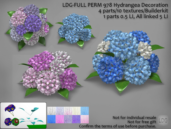 LDG-FULL PERM 978 Hydrangea Decoration /4 parts/10 textures/Builderkit