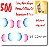 500 Animations, pose balls, gestures...(love, kiss & cuddle)