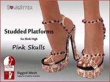 *Soulglitter * Studded Platforms - Denim (Slink High)