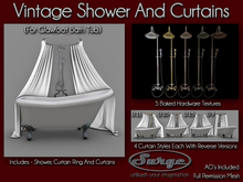 Vintage Shower and Curtains (For Claw Foot Bath Tub) - Full Permission Mesh