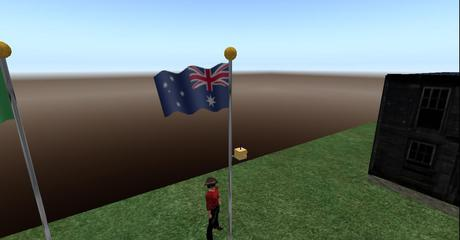 Australia Flag Full Staff, animated blowing in the wind