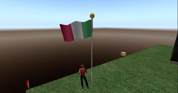 Italy Flag Full Staff animated blowing in the wind