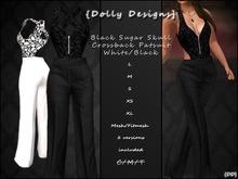 {DD} Black Skull Crossback Pantsuit White/Black