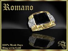RJ Romano Ring Onyx - Gold (Boxed)