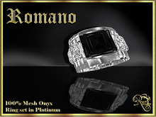 RJ Romano Ring Onyx - Platinum (Boxed)