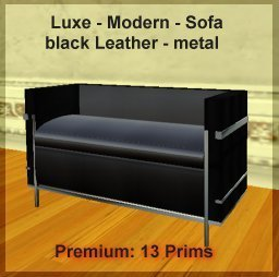 Office Luxe sofa -black leather chrome