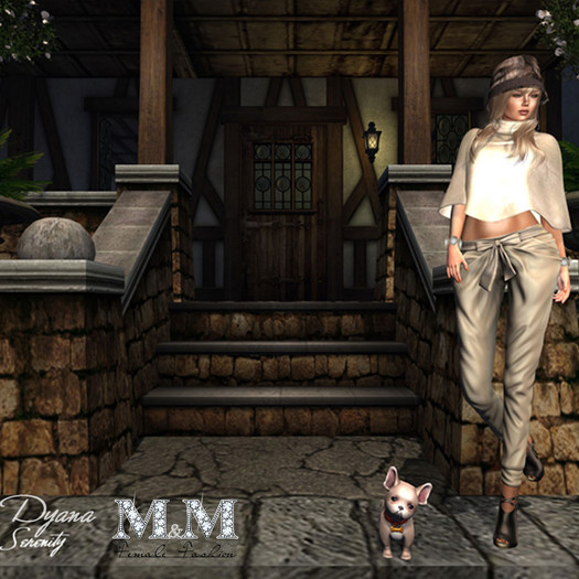 M&M-2ADRIANA PONCHO AND PANT MESH AND FITTEDMESH BEIGE