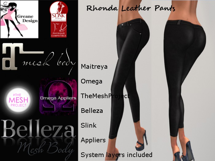 GreaneDesign Rhonda Leather Pants - Omega, TMP ( TheMeshProject ),Slink, Belleza and Maitreya Appliers