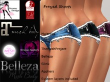 GreaneDesign Frayed Shorts - Omega, TMP ( TheMeshProject ), Slink, Belleza and Maitreya Appliers