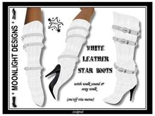 *MD* White Leather Star Boots - SALE -