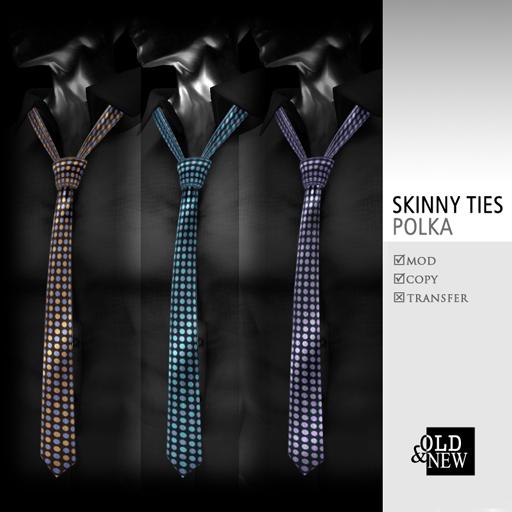 (O&N) Skinny Ties / Neckties (Polka)