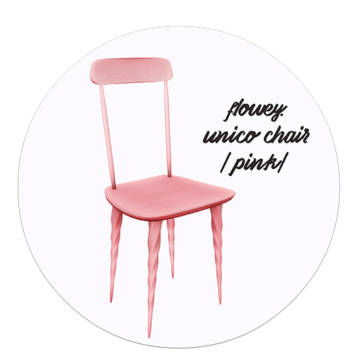 flowey. unico chair / pink