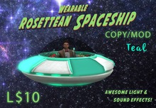 Wearable Animated Rosettean Spaceship - Teal