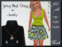 .::f  tiche petite::. Mesh Spring Dress green leaves(incl.jewel