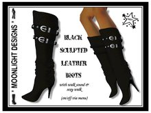 *MD* Black Sculpted Leather Boots
