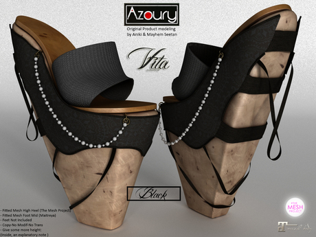 AZOURY - VITA Heels (Black)