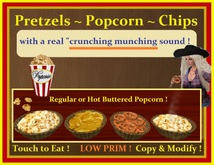 "Pretzels,Chips & Popcorn ~ Touch to Eat /Real ""Crunching Sound"""