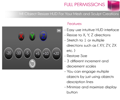 MI Object Resizer Hud For Your Mesh and Sculpt Creations