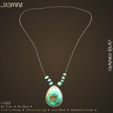 -o-o- CH -o-o- Jasmine Mesh Pendant with Beads - Turquoise
