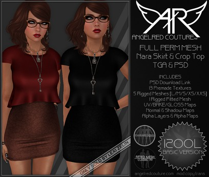 AngelRED - FULL PERM MESH Nara Skirt & Crop Top [BASIC VERSION]