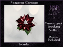 NSP Poinsettia corsage (Red_Silver) boxed