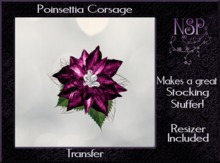 NSP Poinsettia corsage (Pink_Gold) boxed