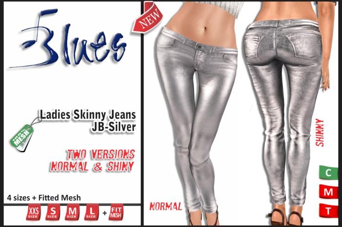 [BLUES] Ladies Skinny Jeans -JB-SILVER  - (mesh)