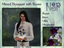 NSP Mixed Rose Bouquet - Coral-White- Red boxed