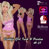 Pink Daddys Girl Tank N Thong W-Appliers