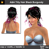 A&A Tilly Hair Black Burgundy (Special Color). Updo with curls. Promo!