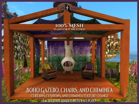 Second Life Marketplace I Boho Gazebo Chairs Chiminea Boxed