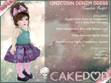 [Cakepop] Unicorn Denim Dress - Full Outfit - MESH! For Toddleedoo