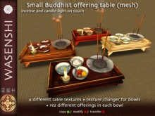 Small Buddhist offering table - 3 bowls, candle and incense