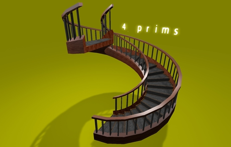 """2-4 prim full perm """"Spiral Stairs 360° Walkable"""" sculpt map, any texture"""