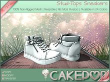 [Cakepop] Stud-Tops Sneakers - White [MESH] fits Toddleedoo & Adults! Re-sizable!