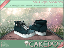 [Cakepop] Stud-Tops Sneakers - Teal [MESH] fits Toddleedoo & Adults! Re-sizable!