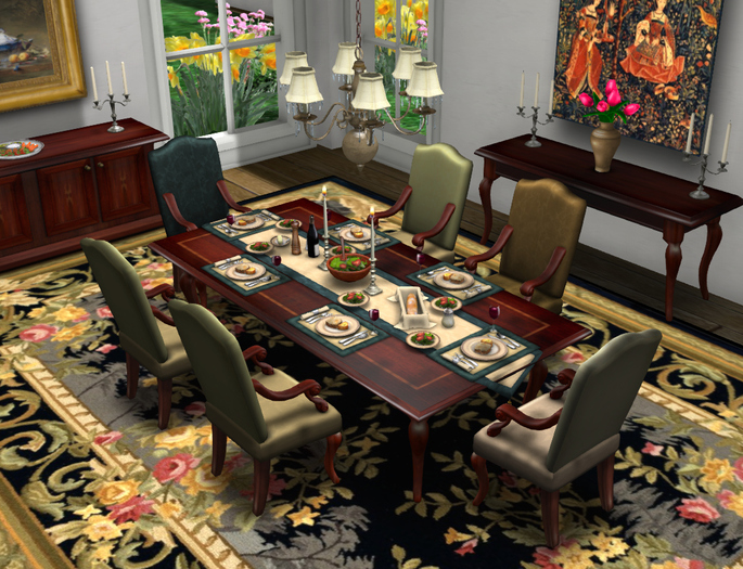 Dinner Party Dining Set for 6: Inlaid French v4 MESH