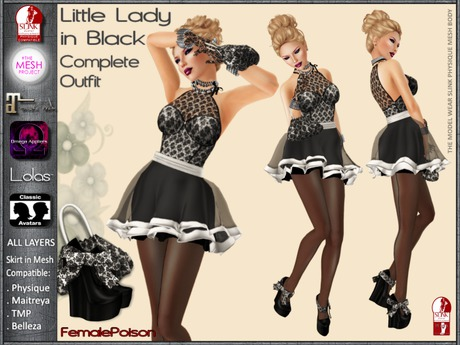 !FP! Little Lady in Black Complete Outfit - Slink Physique TMP Maitreya Omega and Lolas Appliers
