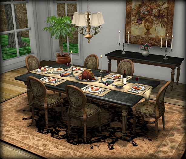 Dinner Party Dining Set for 6: Black Marble Louis XVI Mesh