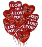 valentine balloons I love you  with flying red open hearts
